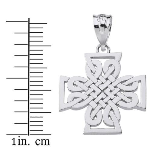 Pur Argent Sterling .925 religieux Tissé Croix Celtique Collier Pendentif