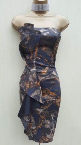 Drape Brun Karen 8 Millen Satin Uk Bodycon Kjole Størrelse Stroppløs Paisley qB8wOUxp