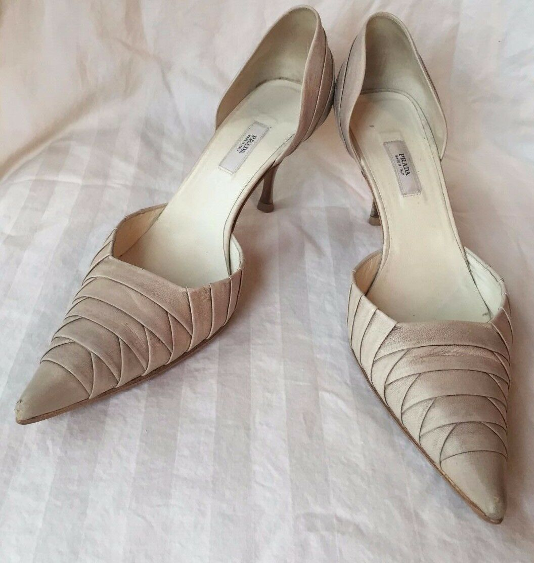 Prada Nude  Antiqued  D'Orsay Leather Pumps with Layered PatternSize 37.5