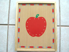 WOODEN BOX WITH WOODEN ITEMS THAT CAN BE SEWN OVER AND OVER GREAT FUN