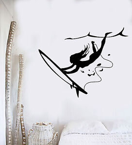 Vinyl-Wall-Decal-Surfing-Girl-Extreme-Sports-Art-Ocean-Beach-Stickers-ig4161