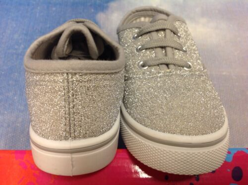Lil Hazel/'s Girls Silver Glitter Lace Up Sneaker Toddler Size 8 to Youth Size 4