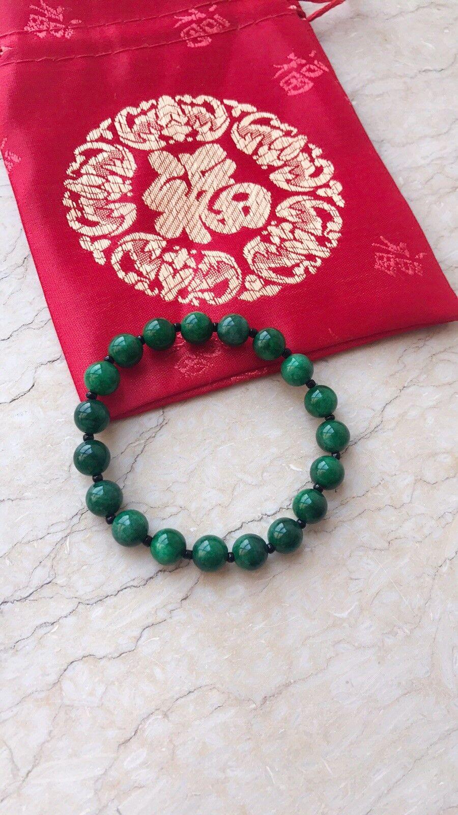 Brand New Auth Dark Green Jade Beads Bracelets With Silk Pouch