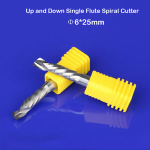 2pcs Up /& Down Cut 6x25MM Single Flute AAA Solid Carbide CNC Router End Mill Bit