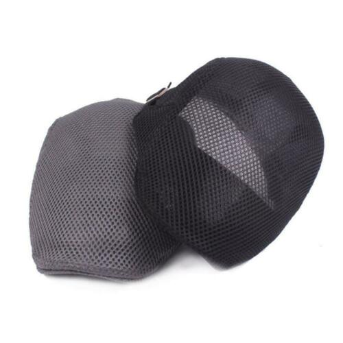Summer Men Flat Top Hat Mesh Breathable Hat Adjustable Hat T1C8