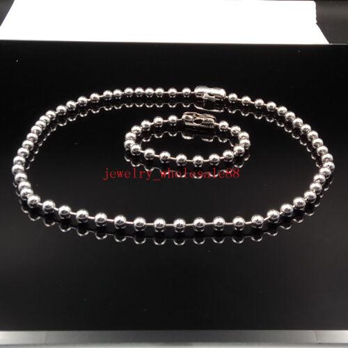 6 mm Acier inoxydable Lisse Balle Perles Chaîne Collier /& Bracelet Bijoux Set