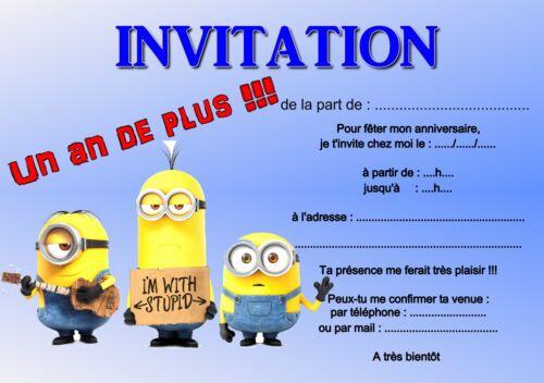 5 ou 12 cartes invitation anniversaire LES MINIONS réf 252