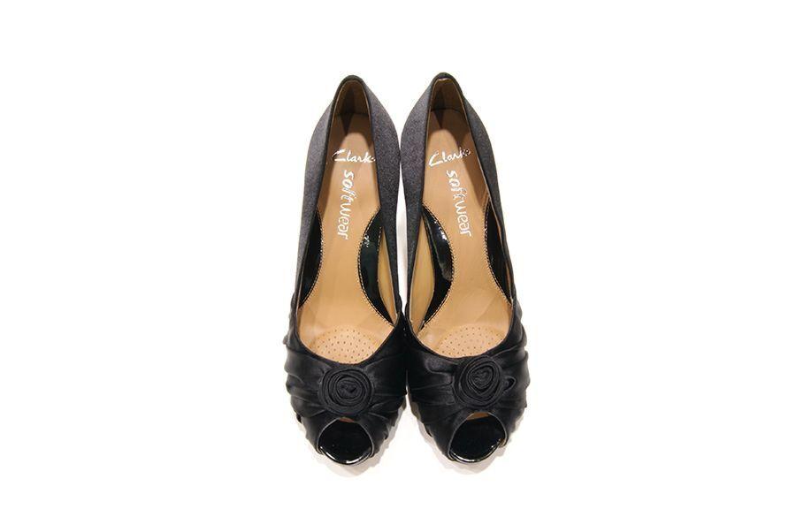 Clarks Damenschuhe   DOLLAR SPOT  SOFTWEAR   BLACK FABRIC   COURT HEEL  UK 7 a19213