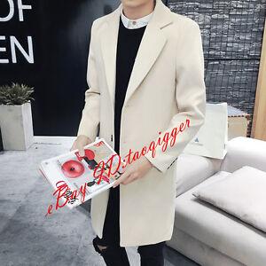 Men-039-s-Korean-3-Buttons-Wool-Blend-Trench-Long-Coat-Lapel-Peacoat-Outwear-Jacket