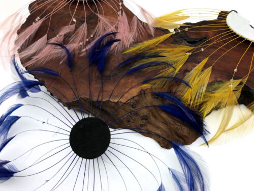 1 Piece Navy Blue Whole Beaded Pinwheel Stripped Rooster Hackle Feather Plates