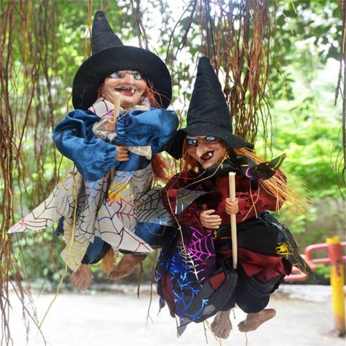 """12/"""" Halloween Party Bar Decoration Witch Prop Eyes Bright//Laughing Sound Control"""