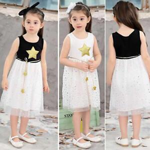 253aacb97fd Kids Baby Girls Summer Star Princess Party Dress Sleeveless Tutu ...
