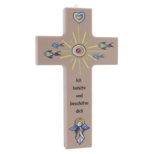 Kinderkreuz Kreuz aus Ahorn Holzkreuz Ich behüte und beschütze dich Wandkreuz