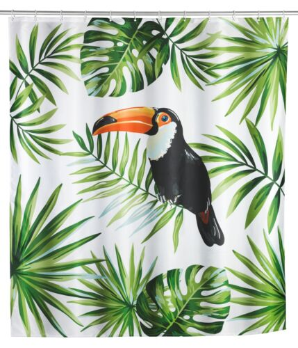 Wenko Shower Curtain Vest Polyester 180 x 200 cm Washable Shower Rod