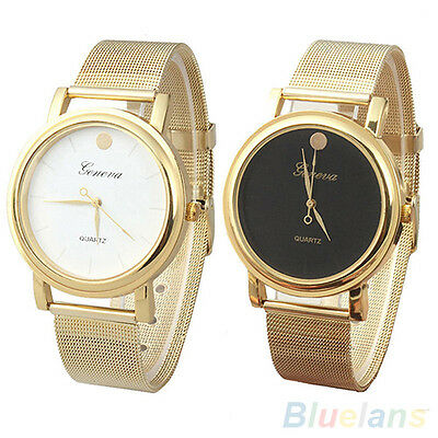 Women Trendy Golden Color Analog Round Case Lady Mesh Band Metal Wrist Watch