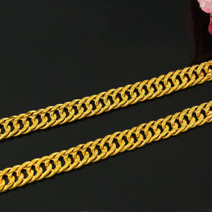 Men-039-s-Classic-Chain-Necklace-8mm-18K-Yellow-Gold-Filled-20-034-Fashion-Gift
