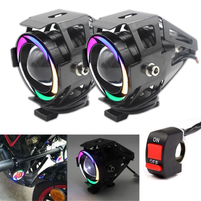 Motorcycle Led White Color Lens Spot Light Multi Lamp Halo Projector Headlight shtrxdQCB