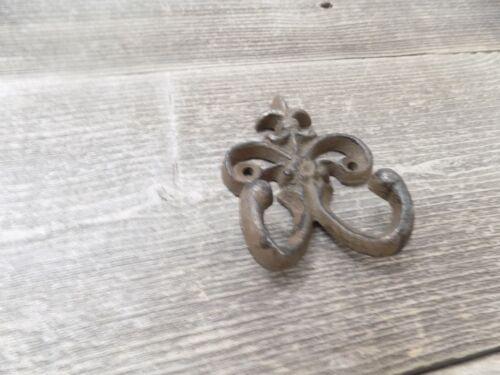 4 Cast Iron Fleur de Lis Rustic Weathered Double Wall Hook Rustic Vintage Look