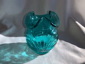 VINTAGE-Fenton-Art-Glass-Drapery-Turquoise-Vase