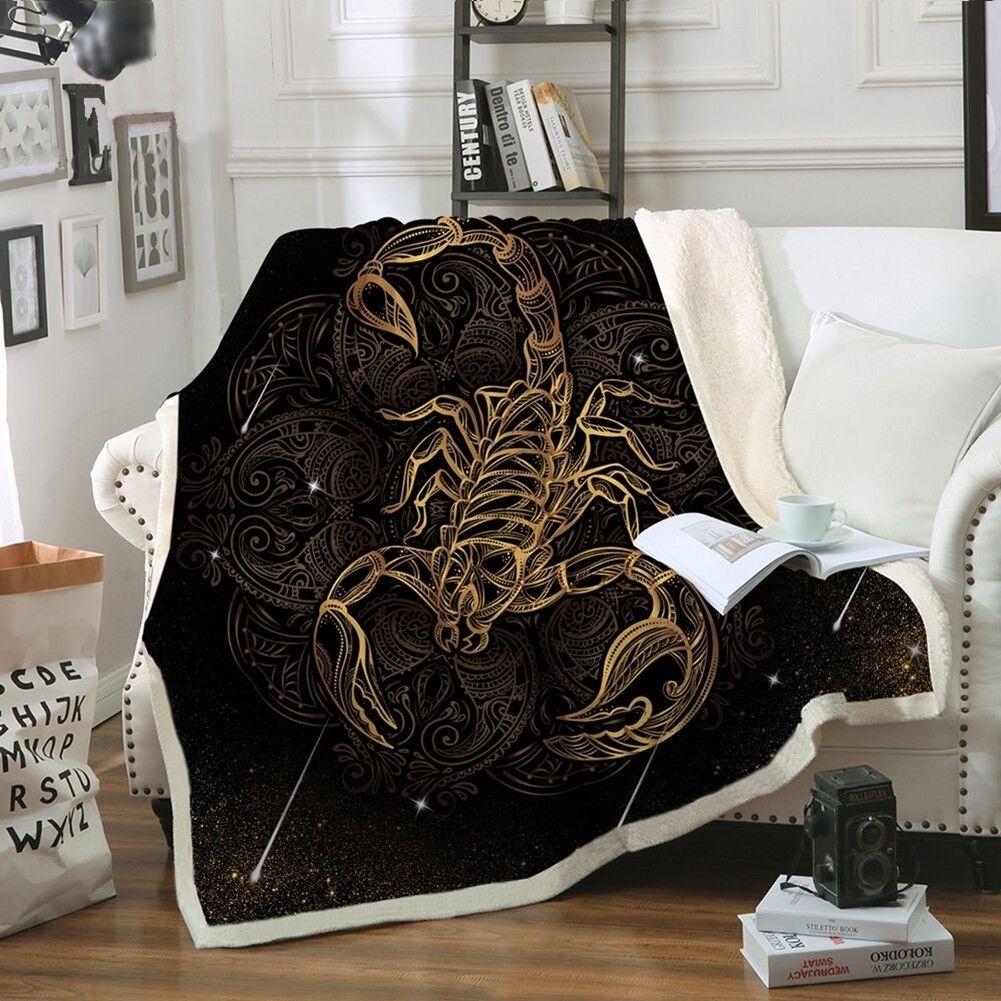 Blanket Plush golden Scorpion Zodiac Bedding Bedspread Soft And Warm Sofa Cover