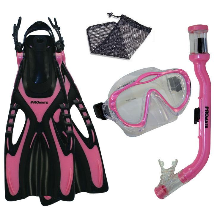 PROMATE Junior Boy Girl Snorkeling Scuba Diving Mask DRY Snorkel Fins Gear Set