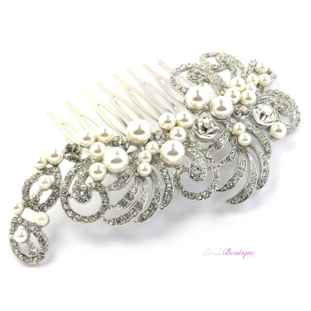 Bridal Wedding Vintage Antique Style Crystal & Pearl Silver Hair Comb Slide HC01