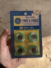 Nos 1971 General Electric Time Delay Type S Fuses 4 Pack 30 Amps 125v Ge New Vtg