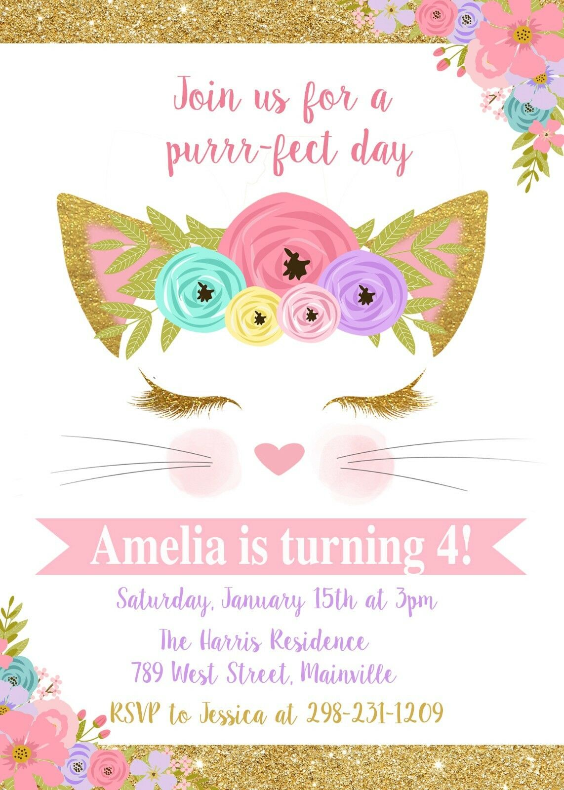 Cat Kitten Kitty Party Birthday Party Kitty Invitation Girl
