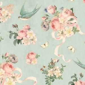 Cottage Shabby Chic Riley Blake Rose & Violet's Garden Main Songbird Fabric