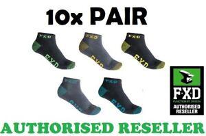 10 X FXD MULTICOLOURED SK3 ANKLE WORK SOCKS FOOTWEAR SIZE 7-12