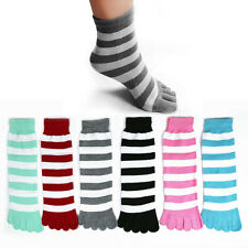 Toe Socks 6 Pair Soft Striped Ladies Women Girls Size 9-11 Fun Color Style