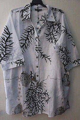 Club Z 1X Women/'s White Brown Beach Swimsuit Coverup S//S Sun Tunic Shirt Coral