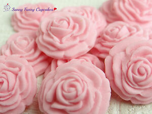 Pink edible roses cupcake decorations party cake toppers, birthday ...