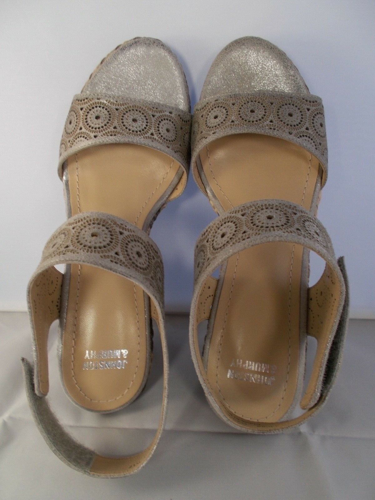 Johnston & Murphy Georgiana Pewter Metallic Leather Leather Leather shoes Womens Sz 7 New In Box b40944