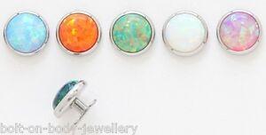 7mm Opal Stein Dermal Anker Kopf - 9 Farben
