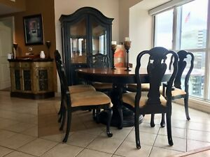Superb Details About Macys Furniture Expandable Dining Table With 6 Chairs And Lighted Hutch Machost Co Dining Chair Design Ideas Machostcouk