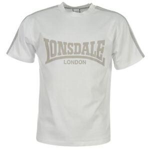 Tee-shirt-LONSDALE-blanc-gris-modele-034-L-Logo-034-Du-S-au-XXL