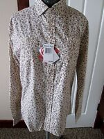 Request Jeans M Ls Roll-tab Cream/wine Floral Print Button Front Tunic Top