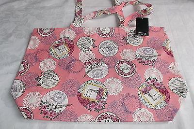 INTRIGUE Shopper-Einkaufstasche Paris-Muster, Vintage-Look aus Segeltuch - Rosa