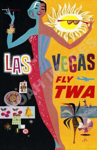 Las Vegas Fly TWA vintage air travel promo poster repro 16x24