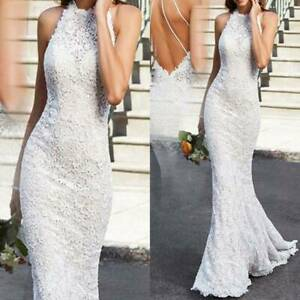 Women Lace Backless Wedding Dress Cocktail Formal Ball Gown Long Maxi Bodycon Ebay,Ball Gown Wedding Dress Sparkle