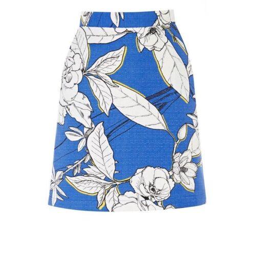 Entrepôt nouvelle bleu blanc imprimé floral jaune mini jupe trapèze rrp £ 32 Taille 6-16