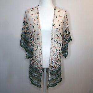 Angie Floral Kimono Sheer Boho Open Blouse Wide Sleeves Cream White Green S