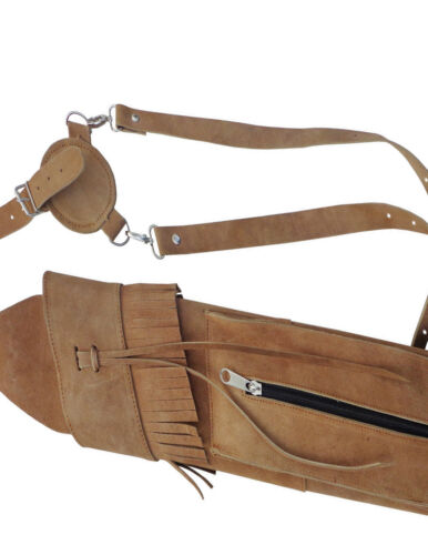 NEW TRADITIONAL SUEDE TANNED BACK SIDE ARROW QUIVER WITH FRONT SIDE POCKET AQ120