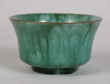 Pilkington's Lancastrian ware streaky green chawan bowl