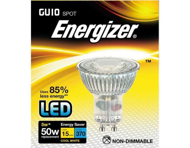 Energizer 5w (=50w) LED GU10 Glass Spotlight Bulb, 36°- Cool White (4000k)