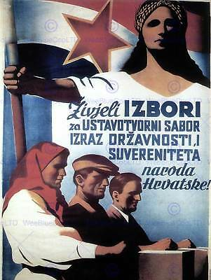 PROPAGANDA POLITICAL TITO YUGOSLAVIA ELECTION RED STAR COMMUNISM POSTER BB2680A