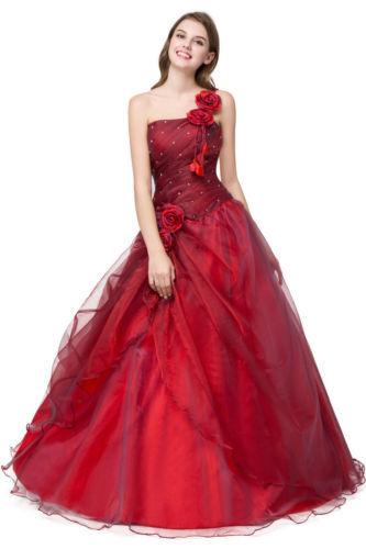 Lager Rot Ballkleid Cocktailkleid Brautkleider Lang Abendkleid Gr.34-44