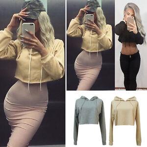 9ffe34a58b5 Image is loading Women-Short-Hooded-Sweatshirt-Casual-er-Hoodie-Sweater-