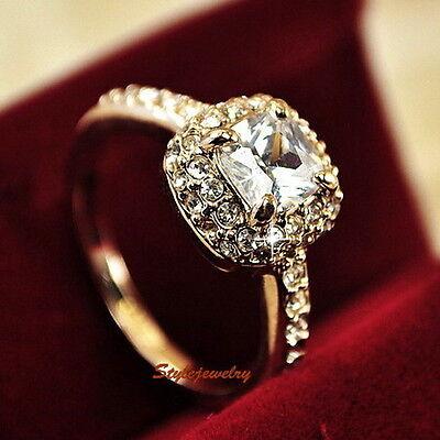 18K Rose Gold Plated Swarovski Crystal Princess Cut Women Engagement Ring R185